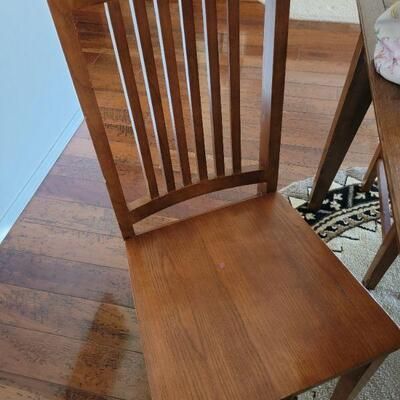 Wood dining chair detail