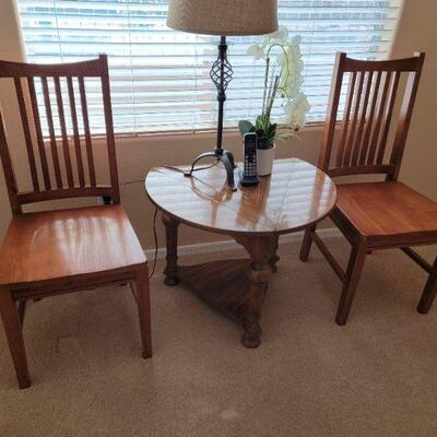 Wood center table and chairs