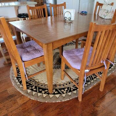 6 chair wood diner table