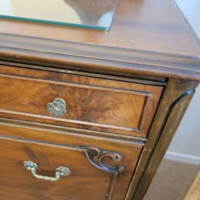 Wood dresser knob and handle detail