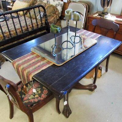 Antique table from the SPAGHETTI WAREHOUSE restaurant. large antique mirror serving tray.