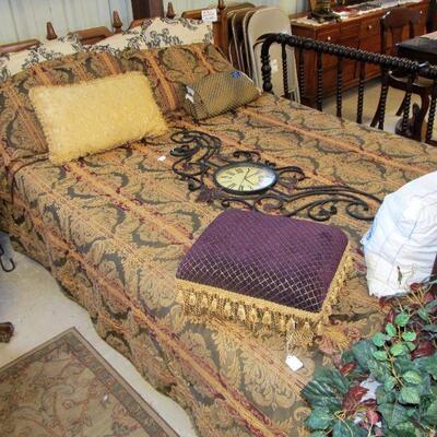 lovely king/queen linen set & queen size frame w/ mattress set. (mattress sealed inside mattress cover). Mid-century king headboard &...