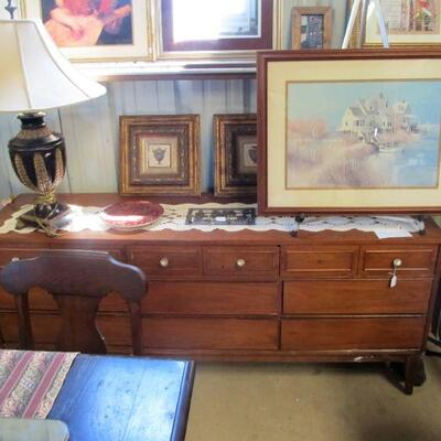 Large Mid-Century dresser project piece.  Framed print by artist Albert Sway Hoover - signed/numbered
