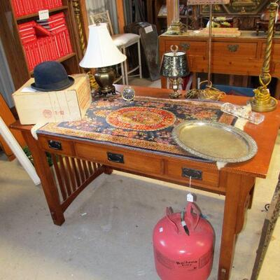 lovely desk for your home office, Hartmeyer horse riding hat, 1928 silver plated serving platter, Belgium rug made of 100% Silk.