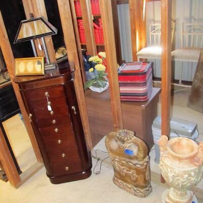 Standing jewelry case & Garden/decorative vases.