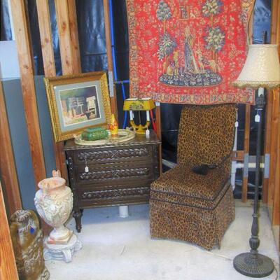 Fredrick - Massoud designer chair, Lovely French tapestry, Fine Handcarved 3-drawer chest, Elegant gold framed watercolor artwork.