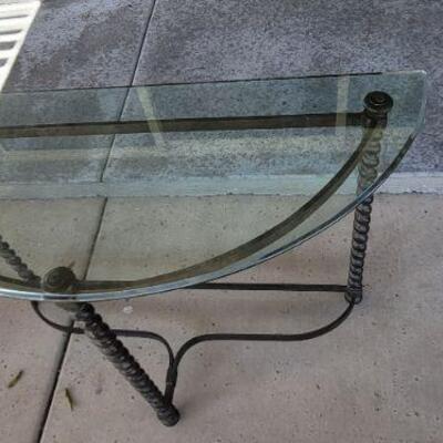 Half circle Iron and glass table