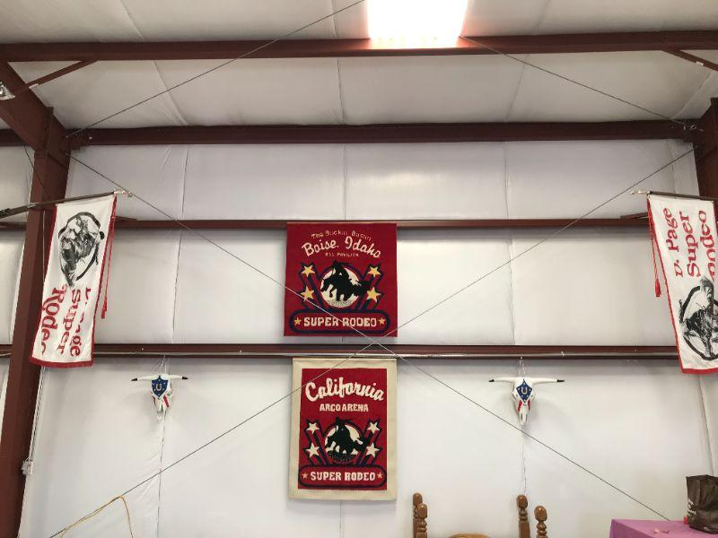 Cowboy decorations hanging in the barn