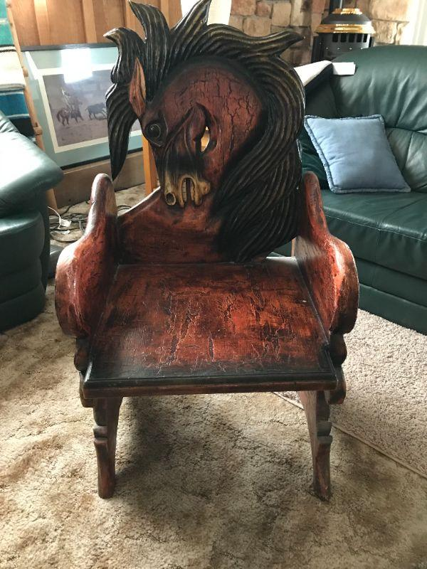 hand carved horse chair for one person