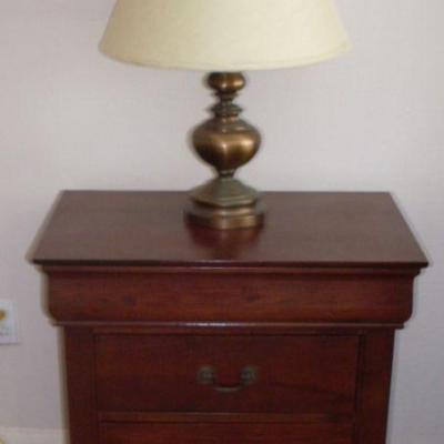 Mahogany night stand and lamp