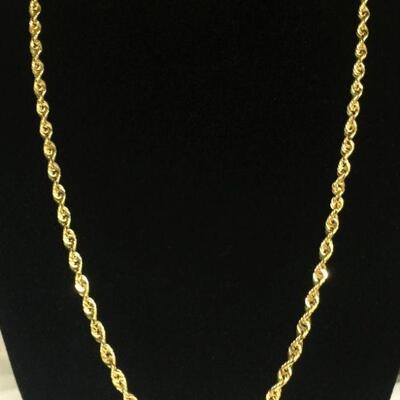4mm Thick Genuine 10K Gold Rope Chain Necklace