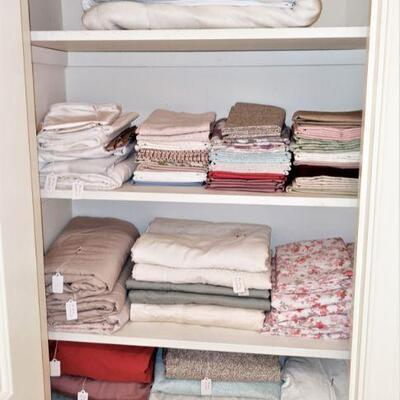 Very nice, clean linens including duvets,  feather beds, comforters, sheets, pillows etc