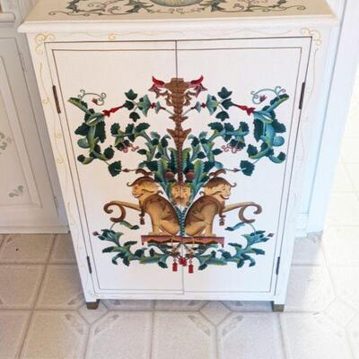 Beautiful cream colored cabinet, hand-painted Inside and out