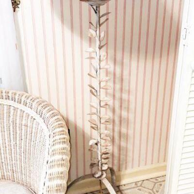 Cream metal floor lamp with leaf design