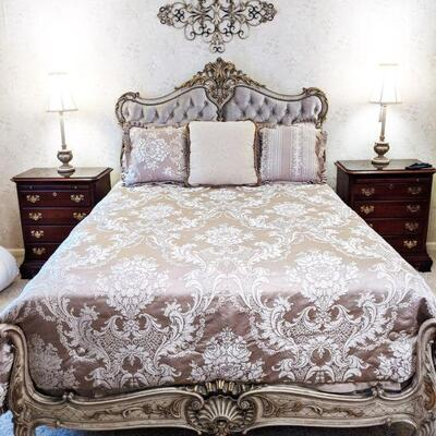This queen size bed has a carved and tufted headboard with carved footboard and is quite elegant. Comforter set with two pillow shams and...
