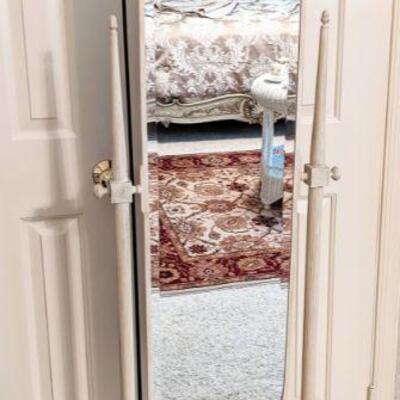 Wrought iron freestanding cheval floor mirror