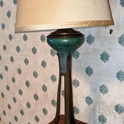 Vintage opalescent green lamp