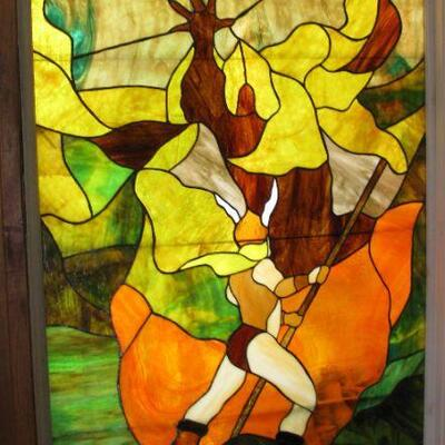FRANK FRAZETFA INSPIRED LARGE STAINED GLASS                                                                                BUY IT NOW $...