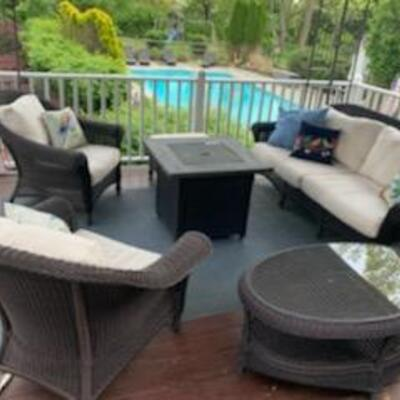 Restoration Hardware conversation set (sofa, 2 chairs, 1 ottoman, 1 coffee table) **Available pick up June 19th-22nd**