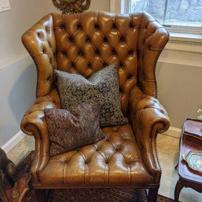Vintage Deep Buttoned Leather Wing Armchair 44 tall x 32 deep x 34.5 wide (1 of 2 Available)