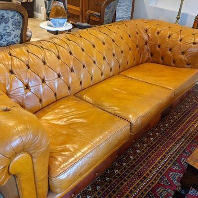 Vintage Leather Chesterfield Sofa - Kellogg Estate 28 tall x 37 deep x 85 wide
