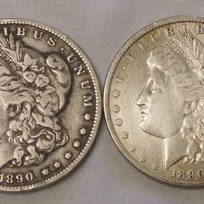 1890 & 189o Morgan Silver Dollars