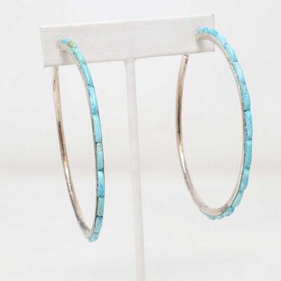 #909 • Native American Turquoise Sterling Silver Hoop Earrings
