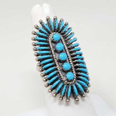 #938 • Native American Turquoise Cluster Sterling Silver Ring