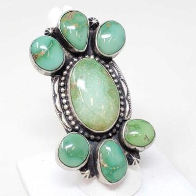 #908 • Native American B. Johnson Sonoran Gold Turquoise Sterling Silver Statement Ring