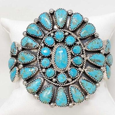 #923 • Native American Turquoise Cluster Sterling Silver Cuff
