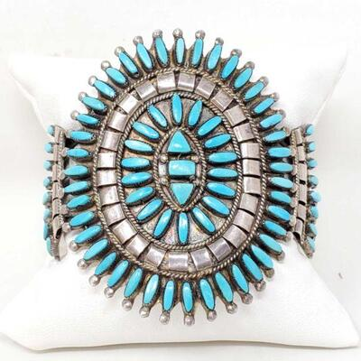 #937 • Native American Turquoise Cluster Sterling Silver Statement Cuff