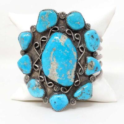 #926 • Native American Turquoise Sterling Silver Statement Cuff