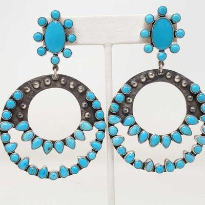 #913 • Native American Turquoise Sterling Silver Dangle Statement Earrings by Federico