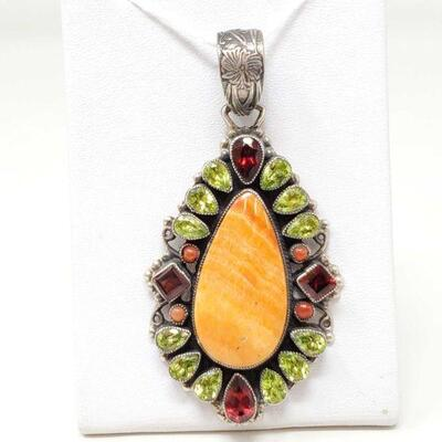 #932 • Native American J. Feeney Spiny Oyster Sterling Silver Pendent