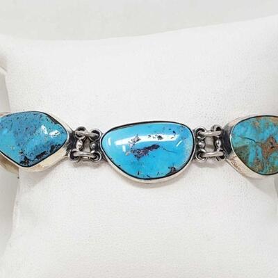 #934 • Native American Federico Jimenez Turquoise Sterling Silver Link Bracelet