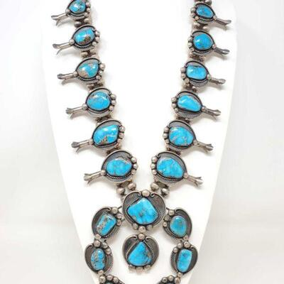 #922 • LARGE Native American Old Pawn Turquoise Sterling Silver Squash Blossom