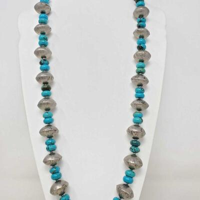 #905 • Native American Old Pawn Sterling Silver & Turquoise Beaded Necklace