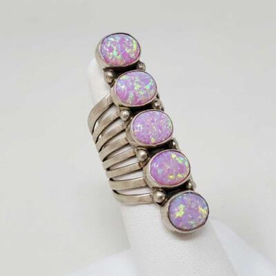 #930 • Native American RB Pink Opal Sterling Silver Ring