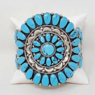 #911 • Native American Turquoise Cluster Sterling Silver Statement Cuff