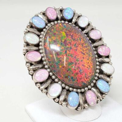 #931 • Native American G. James Multicolor Opal Sterling Silver Statement Ring