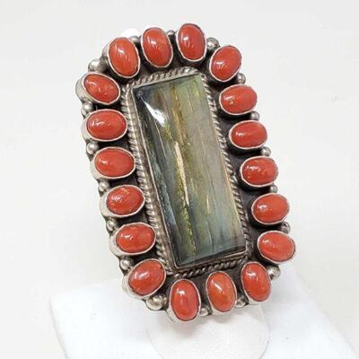 #906 • Native American G. James Labradorite with Coral Sterling Silver Statement Ring- 38.1g