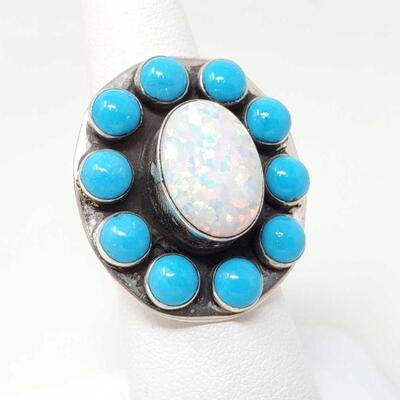 #912 • Native American Opal and Turquoise Cluster Sterling Silver Ring