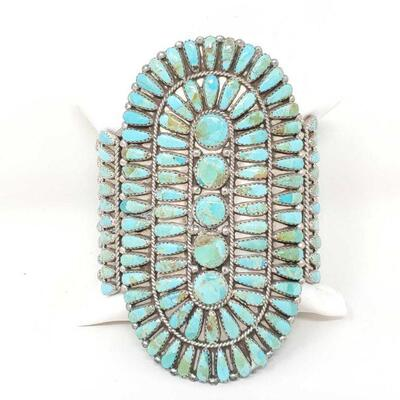 #921 • Native American Turquoise Cluster Sterling Silver Statement Cuff