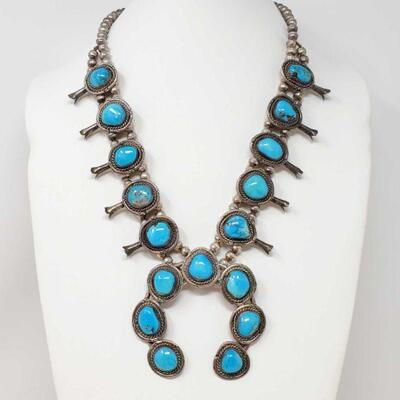 #933 • Native American Turquoise Sterling Silver Squash Blossom