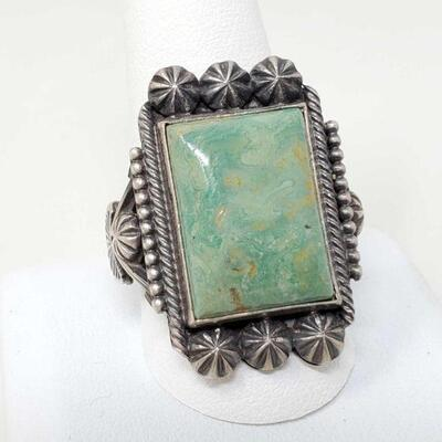 #927 • Native American Navajo M&R Calladitto Turquoise Sterling Silver Men's Ring