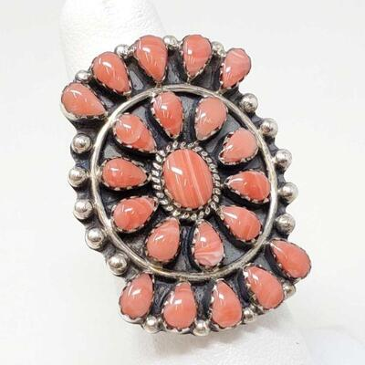 #907 • Native American Spiny Oyster Cluster Sterling Silver Ring
