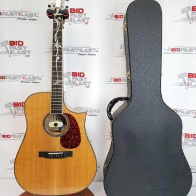 2024  Morgan Acoustic Guitar With Hard Case Stamped 96 243. Stand Not Included.