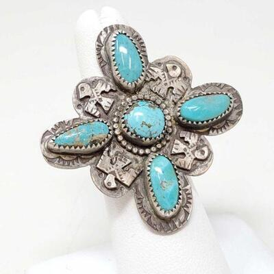 #910 • Native American Turquoise and Thunderbird Sterling Silver Ring