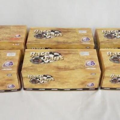 1063LOT OF SIX ACTION COLLECTABLES RACE FANS 1:24 SCALE LIMITED EDITION NASCAR MODEL CARS. ALL ARE IN DISPLAY CASES & COME W/ ORIGINAL...