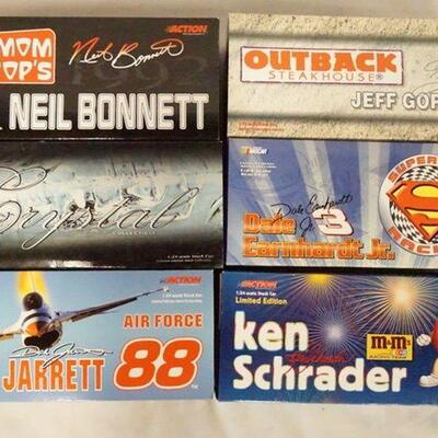 1005LOT OF SIX LIMITED EDITION ACTION RACING COLLECTABLES NASCAR 1:24 SCALE MODEL CARS IN ORIGINAL BOXES. LOT INCLUDES ONE CRYSTAL...